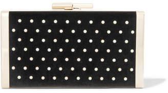 Jimmy Choo J Box Faux Pearl-embellished Velvet Clutch - Black