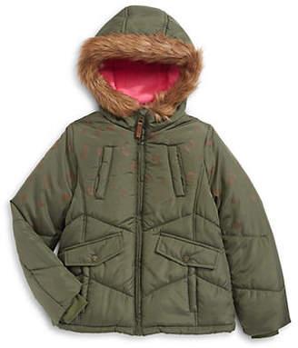 London Fog F.O.G. BY Kid's Leopard Faux Fur Trim 3-in-1 Coat