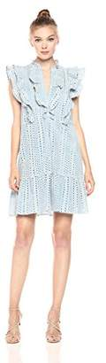 BCBGMAXAZRIA Azria Women's Alica Woven Ruffle Placket Dress