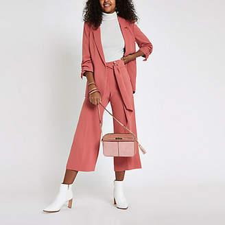 River Island Dark pink sash belt cropped wide leg culottes