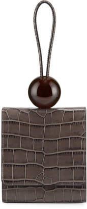 BY FAR Crocodile-Embossed Top Handle Bag