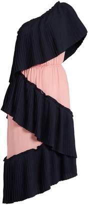 Marco De Vincenzo Tiered bi-colour pleated dress