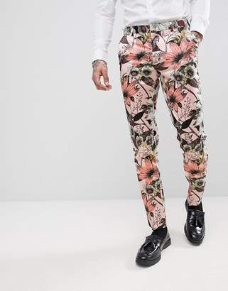 Asos Edition EDITION skinny tuxedo suit pants in pink floral sateen print