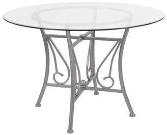 Flash Furniture Princeton 45'' Round Glass Dining Table with Silver Metal Frame