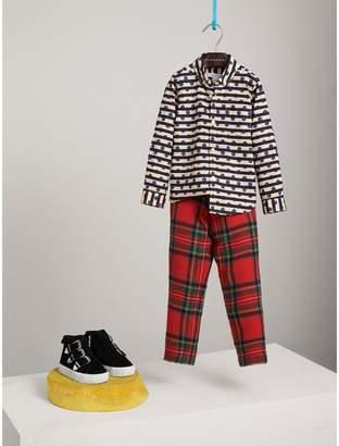 Burberry Spot and Stripe Print Cotton Shirt