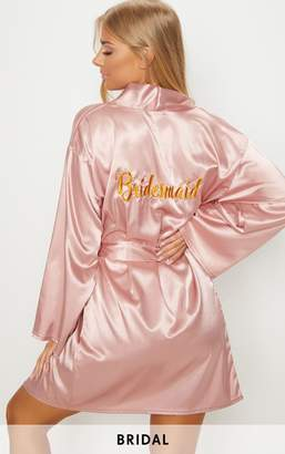 PrettyLittleThing Pale Pink Bridesmaid Embroidered Back Satin Robe