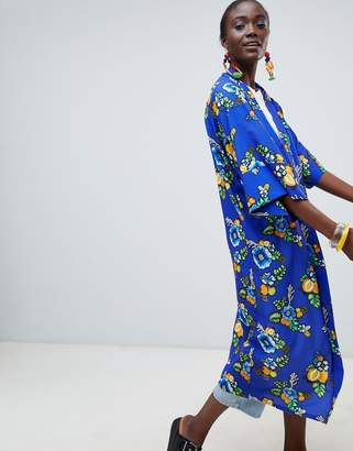 Asos MADE IN Made In Kenya x Julie Adenuga Longline Kimono In Blue Floral