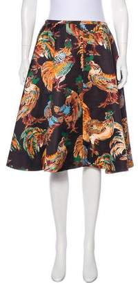 Rochas Cock Print Knee-Length Skirt