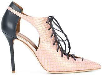 Malone Souliers lace-up snakeskin pumps