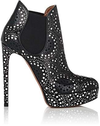 Alaia Women's Laser-Cut Leather Platform Chelsea Boots