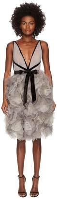 Marchesa Tulle Cocktail Dress w/ Degrade Floral Skirt Women's Dress