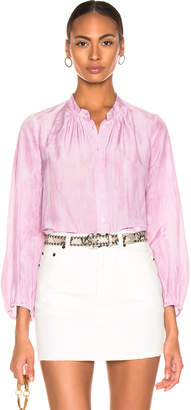 Raquel Allegra Shirred Bell Blouse in Peony Tie Dye | FWRD