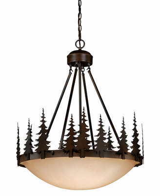 Vaxcel Yosemite Rustic Tree Amber Glass Bowl Pendant Light