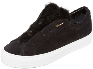 Salvatore Ferragamo Fur Sneakers $525 thestylecure.com