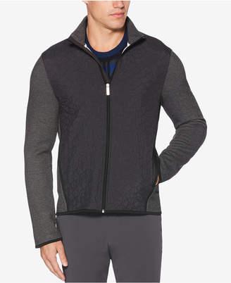 Perry Ellis Men's Quilted Colorblocked Full-Zip Sweater