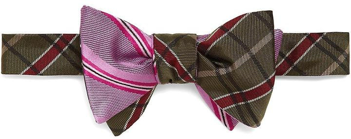 Social Primer Reversible Bow Tie: BB#2 Plaid and Satin Twin Sidewheeler Stripe