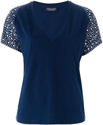 Twin-Set embellished-sleeve T-shirt