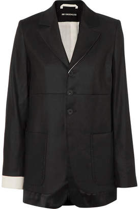 Ann Demeulemeester Satin-trimmed Linen And Cotton-blend Twill Blazer - Black