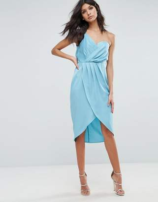 Asos One Shoulder Drape Bodiced Wrap Midi Dress