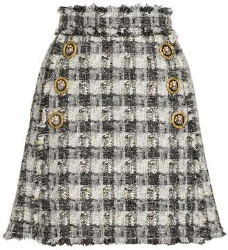 Dolce & Gabbana Check Print Button Detail Skirt
