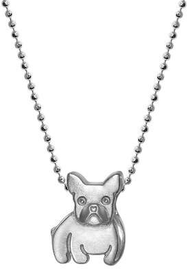 Alex Woo Sterling Silver French Bulldog Necklace, 16""
