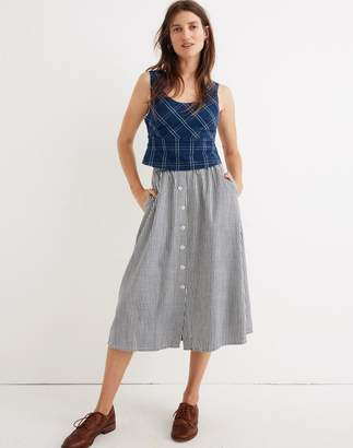 Madewell Palisade Button-Front Midi Skirt in Chambray Stripe