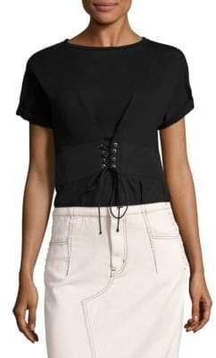 3.1 Phillip Lim Corset Cotton Jersey Top