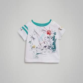 Burberry Adventure Motif Cotton T-shirt , Size: 2Y