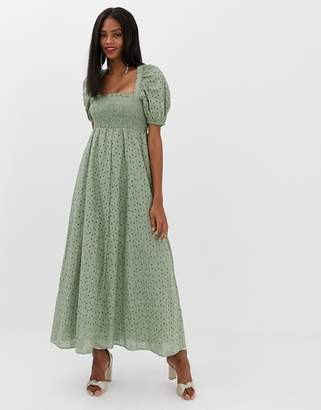 Asos Design DESIGN shirred bustier maxi dress with puff sleeve in broderie