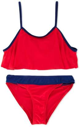 Duskii Girl Poppy frill crop bikini set