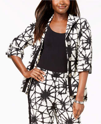 JM Collection Printed 3/4-Sleeve Crinkle Jacket, Created for Macy's