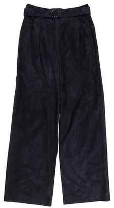 Brunello Cucinelli Suede High-Rise Pants