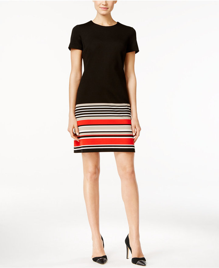 Calvin KleinCalvin Klein Striped Border Shift Dress