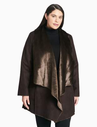 Calvin Klein plus size faux shearling drape coat