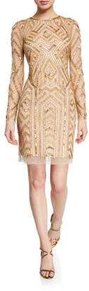 Aidan Mattox Long-Sleeve Geometric Hand-Beaded Mini Cocktail Dress