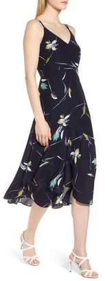 Lewit Double Strap Floral Silk Dress
