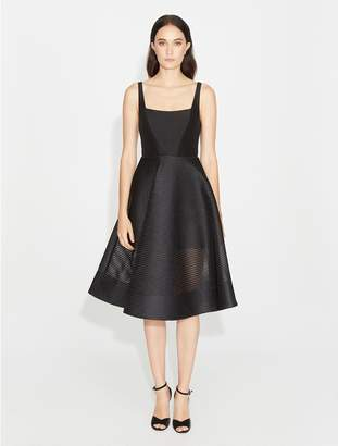 Halston Stripe Mesh Fit & Flare Dress