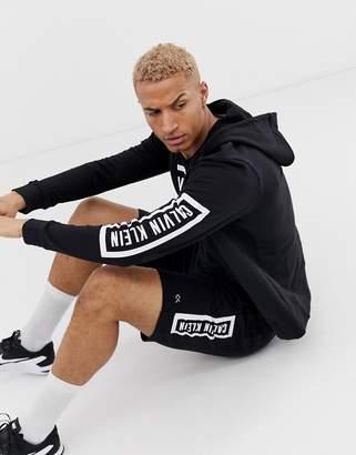 zip-thru hooded sweat with statement logo in black