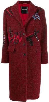 Ermanno Scervino multi-embroidered detail coat