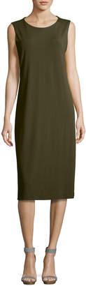 Eileen Fisher Sleeveless Jewel-Neck Jersey Midi Dress