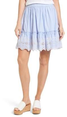 Caslon Embroidered Hem Cotton Pinstripe Skirt