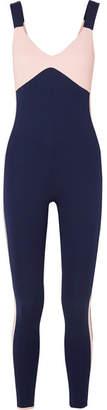 Vaara - Savannah Two-tone Stretch-knit Bodysuit - Navy