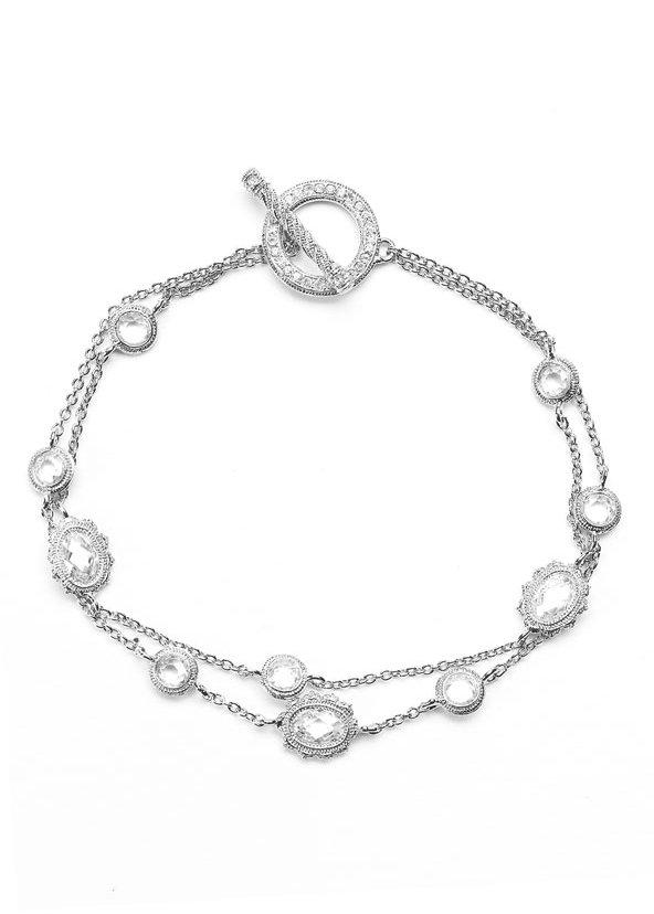 Nadri Double Chain Bezel Bracelet