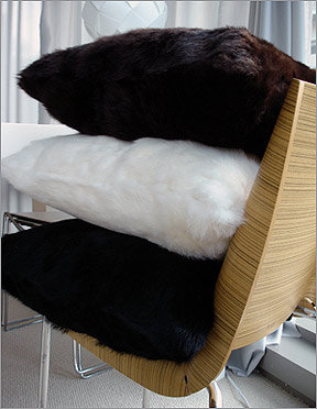 Publique Living Rabbit Fur Pillows