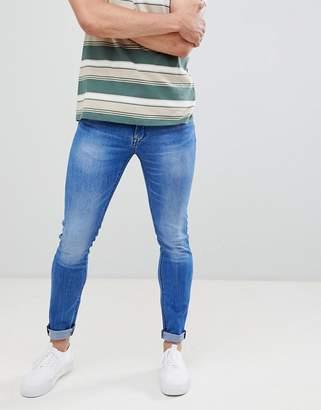 Celio Skinny Fit Jeans In Mid Blue