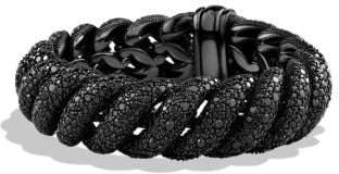 David Yurman Hampton Cable Bracelet With Black Diamonds, 19Mm