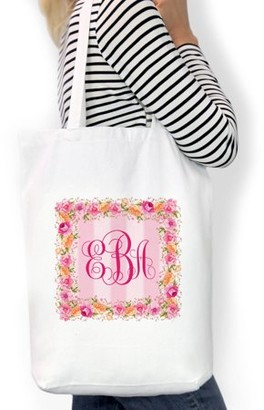 "Monogram Online Monogram Square Wreath Custom Cotton Tote Bag, Sizes 11"" x 14"" and 14.5"" x 18"""