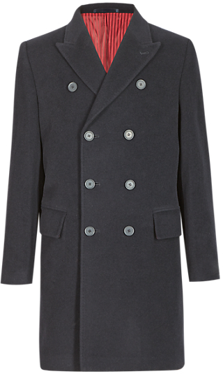 M&s Collection Wool Rich Double Breasted Coat with Cashmere