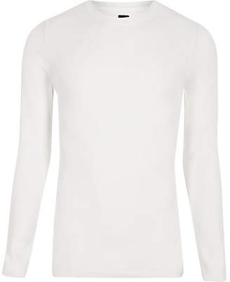 River Island RI Studio white crew neck muscle fit sweater
