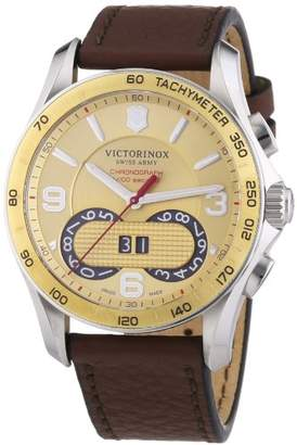 Victorinox Men's Chrono Classic Quartz Watch with Gold Dial Chronograph Display and Brown Leather Strap